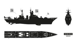 Detailed silhouette of military ship. Top, front and side view. Battleship model. Warship in flat style. Detailed silhouette of military ship. Top, front and Royalty Free Stock Photography