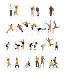 Detailed silhouettes of people. Fun children, young couples, sport teens, old age Royalty Free Stock Images