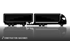 Detailed silhouettes of trailer truck with reflections background Royalty Free Stock Images
