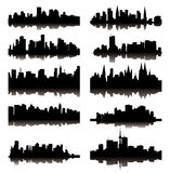 Detailed  silhouettes of world cities Stock Photos