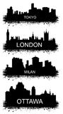 Detailed  silhouettes of world cities. MILAN, TOKYO, OTTAWA, LONDON Stock Images
