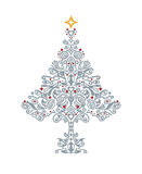 Detailed silver Christmas tree Stock Image