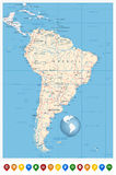 Detailed South America Map and location pin icons Stock Images