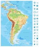 Detailed South America Physical Map and navigation icons. With global relief, roads, lakes and rivers. Highly detailed vector map Stock Image