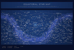 Detailed star map with names of stars Stock Image