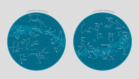 Detailed star map vector. High detailed star map with names of stars and constellations vector Stock Photos