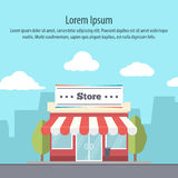 Detailed storefront in flat style on background of the city Stock Image