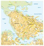 Detailed street map of downtown Vancouver, British Columbia, Canada.  vector illustration