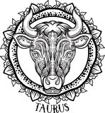 Detailed Taurus in aztec style Royalty Free Stock Photography