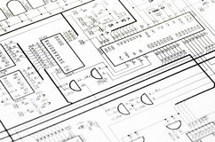 Detailed technical drawing. With a lot of calculations Stock Images