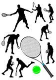 Detailed  tennis players silhouettes Royalty Free Stock Photography