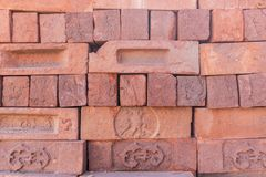 Detailed texture. Wall of red old brick. Vintage background Royalty Free Stock Images