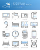 Detailed thin line icons. Office technics and electronic devices. Detailed thin white line icons for business. Office technics and electronic devices. PC, MFP Royalty Free Stock Images