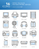Detailed thin white line icons - Office technics and electronic devices. Stock Image