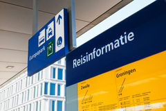 Detailed travel information at a railway station in Groningen, N Stock Photos