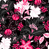 Detailed tropical floral seamless pattern Stock Photography