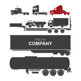 Detailed trucks silhouettes set Stock Photography