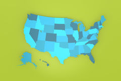 Detailed USA map on green background Stock Image