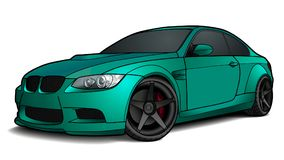 Vector draw of a flat sport car with black lines. Detailed vector draw of a flat sport car with black stroke option for custom able color for kids drawing book Stock Images
