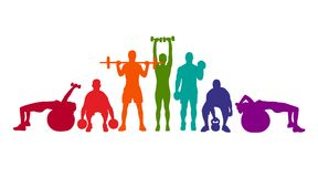 Detailed vector illustration silhouettes strong rolling people set girl and man sport fitness gym body-building workout powerlifti. Ng health training dumbbells Royalty Free Stock Images