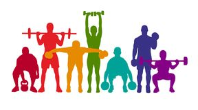Detailed vector illustration silhouettes strong rolling people set girl and man sport fitness gym body-building workout powerlifti. Ng health training dumbbells vector illustration