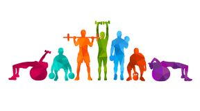 Detailed vector illustration silhouettes strong rolling people set girl and man sport fitness gym body-building workout powerlifti. Ng health training dumbbells Royalty Free Stock Photo