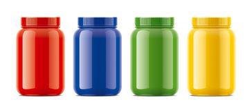 Blank glossy bottles mockups for protein. Colored version. Stock Images