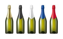 Bottles of Champagne. Version with Olive Glass. royalty free stock image
