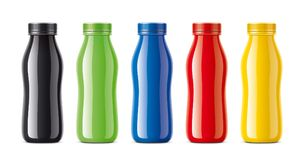 Bottles for juice, dairy drinks and other. Colored, not transparent version Stock Photo
