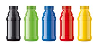 Bottles for juice, dairy drinks and other. Colored, not transparent version Stock Photos
