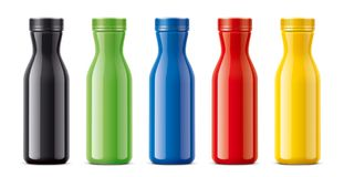 Bottles for juice, dairy drinks and other. Colored, not transparent version Royalty Free Stock Photo