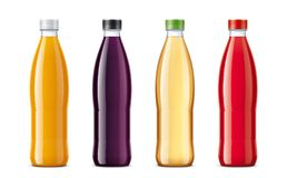 Bottles for juice and other drinks. Royalty Free Stock Photo