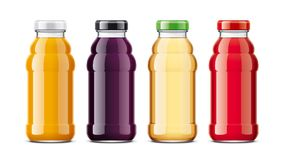 Bottles for juice and other drinks. Glass bottles and metal cap version. Stock Photography