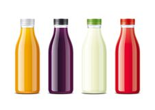 Bottles for juice and soda stock photos