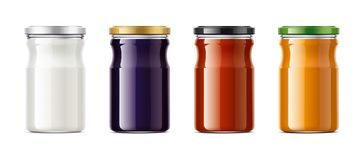Clear Jar mockup for dairy foods, confiture and sauces Royalty Free Stock Images