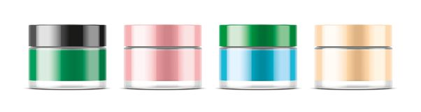 Cosmetic Jar for Cream and other. Transparent version stock photos