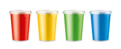 Cups for dairy and other foods Royalty Free Stock Photo