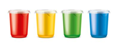 Cups for dairy and other foods. Big size cups version stock photos