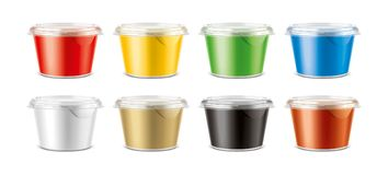 Cups for dairy and other foods. Small size cups version Royalty Free Stock Images