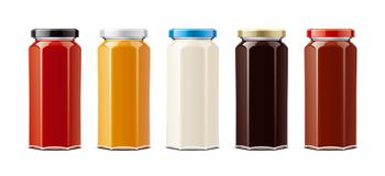 Glass bottles for sauces and other foods. Big size royalty free stock photo