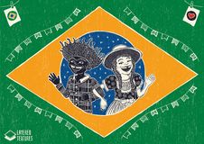Happy multiracial hick couple waving inside the brazilian flag -. Detailed vector for june party themes. Removable wood texture. Made in Brazil with love vector illustration