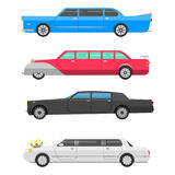 Detailed vector luxury limousine long car transportation detailed auto business transport design speed pickup graphic Stock Photography