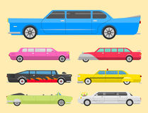 Detailed vector luxury limousine long car transportation detailed auto business transport design speed pickup graphic Stock Image