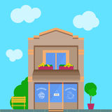 Detailed vector old city building with coffee shop storefront Stock Photo
