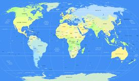 Detailed vector political World Map Royalty Free Stock Photos