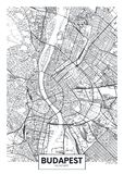 Detailed vector poster city map Budapest. Design of a poster for interior decoration vector illustration