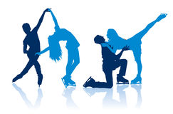 Silhouettes of figure skaters. Detailed vector silhouettes of figure skaters Stock Images