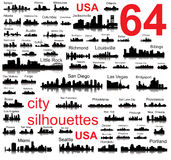 Detailed vector silhouettes of USA cities Stock Photography