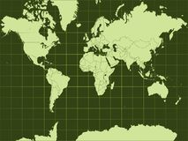 Detailed vector world map Stock Photography