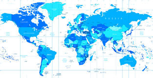 Detailed vector World map of blue colors Stock Images